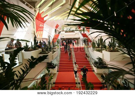 A general view of atmosphere the  Palais des Festivals at the 70th Annual Cannes Film Festival on May 20, 2017 in Cannes, France.