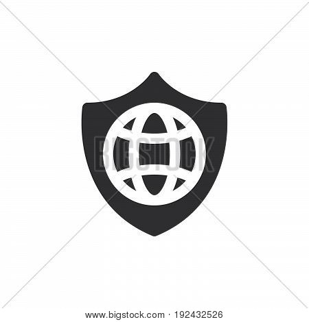 Shield and globe icon vector filled flat sign solid pictogram isolated on white. Internet protection symbol logo illustration. Pixel perfect