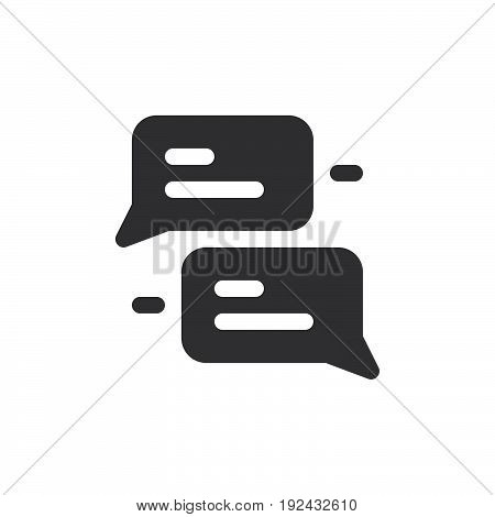 Speech bubbles icon vector filled flat sign solid pictogram isolated on white. Chat symbol logo illustration. Pixel perfect