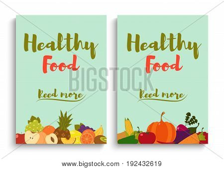 Fruits and vegetables. Fruits and vegetables background. Fruits and vegetables cards. Organic food. Vector illustration.