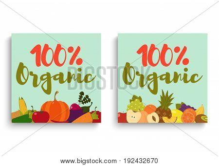 Fruits and vegetables. Fruits and vegetables background. Fruits and vegetables cards. Organic food. Vector illustration.