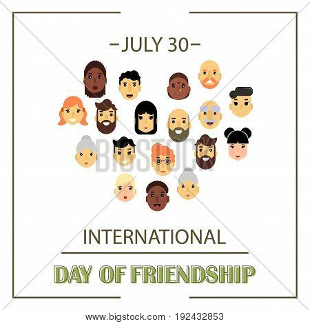 The heart of friends of different genders and nationalities as a symbol of International Friendship day. Vector illustration of banner for the International Day of friendship.