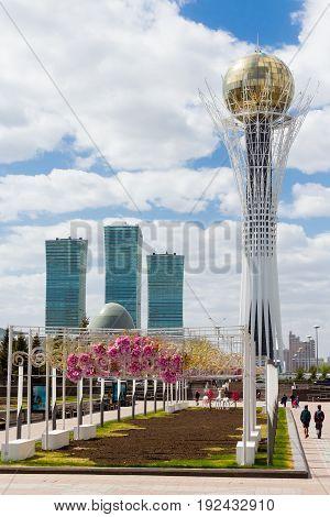 Astana, Kazakhstan. 08 May 2017: Bayterek Tower In Astana. Symbol Of Kazakhstan