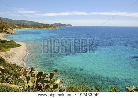 View on the beach Is Canaleddus on the South of Sardinia Italy.