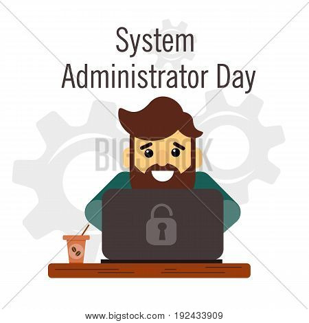 Day of the system administrator. Cartoon, funny picture man with a beard by the system administrator. Stock vector.