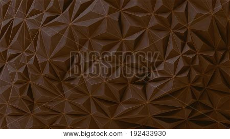 Geometric relief texture painting wall vector background with sweet brown chocolate tone and wireframe overlay on
