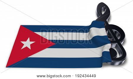 clef symbol and flag of cuba - 3d rendering