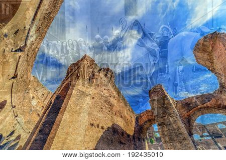 ROME ITALY - MAY 30 2017: Double exposure view inside the Colosseum with specific theatrical scene representing priest roman soldiers and women hostess in background.