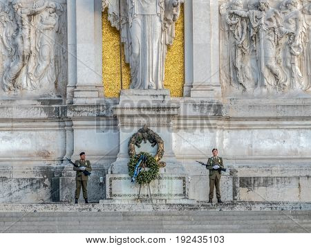ROME ITALY - MAY 30 2017: Guard soldiers at Monument Nazional a Vittorio Emanuele II built in honour of first king of a unified Italy.