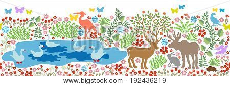 Seamless pattern for wall painting and fresco. Fantasy birds and animals in the forest. Deer, elk, herons, cranes, ducks, swans and blooming floral carpet on white background.
