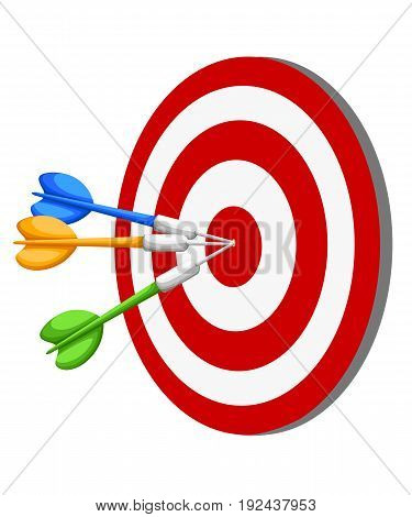 Target Dart Arrow Hitting Center Target On White Background, Flat Vector Illustration Web Site Page