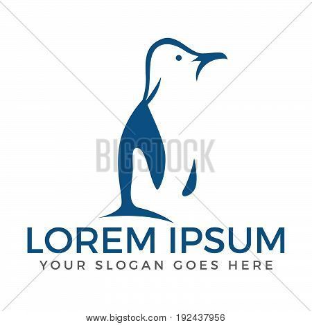 Abstract penguin logo. Side view of a standing penguin.