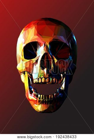 Low polygonal skull open jaw with colorful color on dark red background