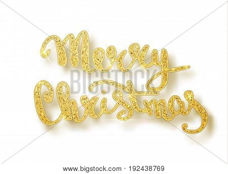 Merry Christmas lettering greeting card for holiday. Gold Shining. Golden confetti falls. Calligraphy Christmas lettering. Vector Illustration EPS10