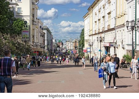 RUSSIA Nizhny Novgorod - JUN 20 2017: One of the cities of the world Cup in 2018. People walk on a pedestrian street