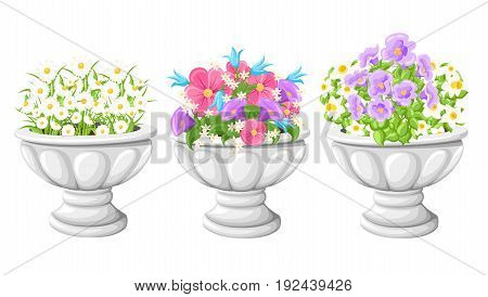Flower In Ceramic Grey Flowerpots For Cultivation Of Plants. Clay Pot In An Isometry, Isolated On A