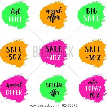 Sale Card Vector Illustration Set