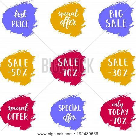 A Set of Sale cards vector Illustration. Sale offer banner with hand drawn background.  Posters with Best price Sale Special offer Only today lettering.