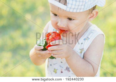 The Child Greedily Eating Tomato