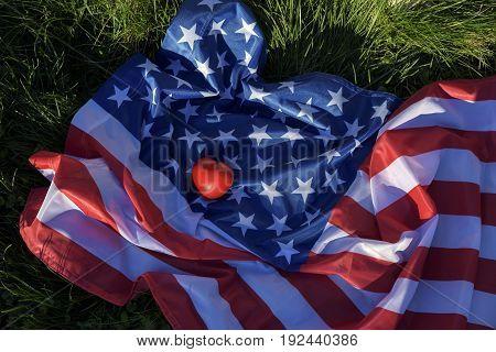 Love America. Red heart. USA. Conceptual image.