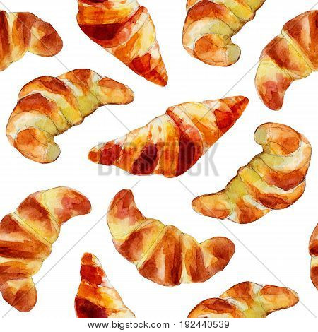 Croissants seamless pattern watercolor illustration in hand-drawn style.