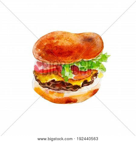 Hamburger with fresh vegetables watercolor illustration isolated on white background.