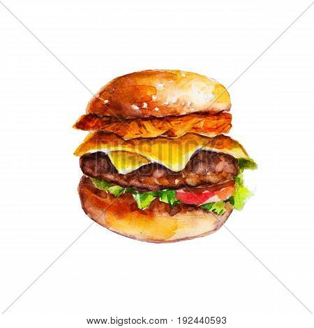 Hamburger with hash brown and vegetables watercolor illustration isolated on white background.