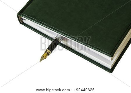 From a closed diary you can see the fountain pen on a white background