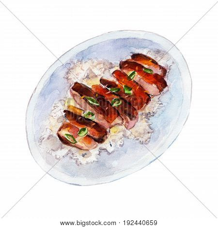 Grilled Chicken teriyaki rice watercolor illustration isolated on white background.
