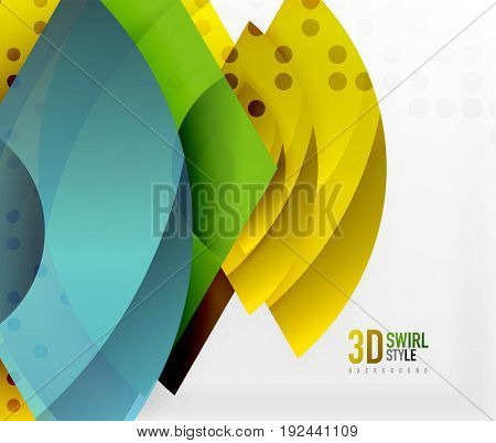 Swirl and wave 3d effect objects, abstract template design. Overlapping waves on white background