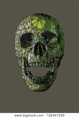 Vector skull front open jaw drawingHuman boho ornamental blob shape decorative skull with green color.