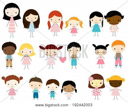Cute group of stick figures kids - boys and girls