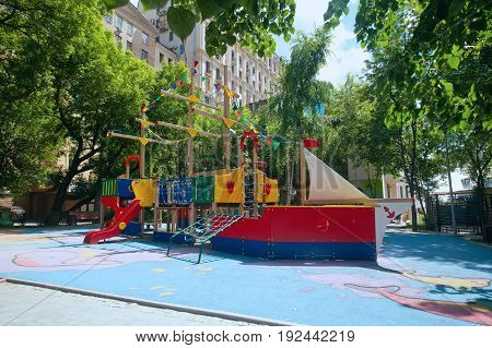 Modern children playground in the form of the ship in Moscow