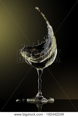 White wine glass on black background. 3d rendering