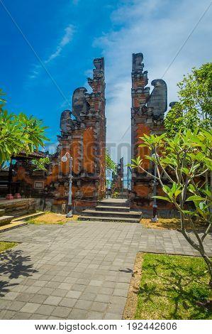 BALI, INDONESIA - MARCH 05, 2017: Gate of Pura Ulun Danu Bratan temple on Bali island, Indonesia.