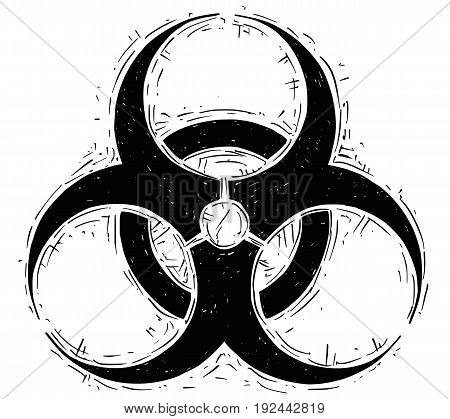 Vector doodle drawing illustration of biohazard symbol