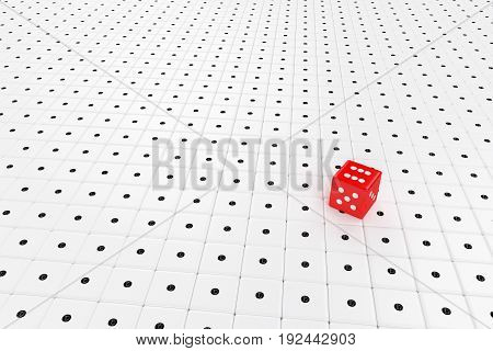 red dice standing on many white dices, 3d rendering