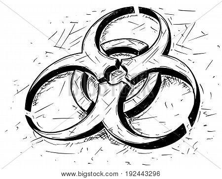 Vector cartoon drawing illustration of biohazard symbol