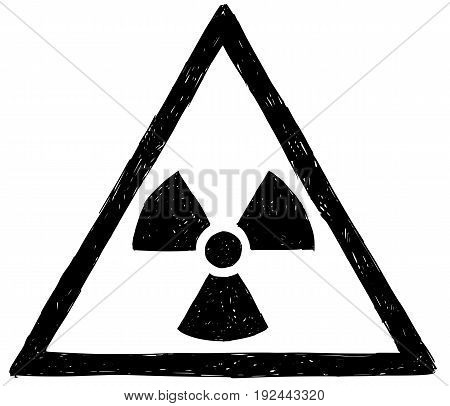 Vector doodle hand drawing illustration of nuclear radiation symbol.