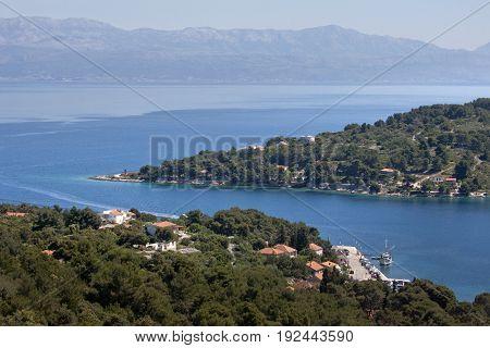 Rogac ferry port on island Solta in middle Dalmatia near town Split in Croatia