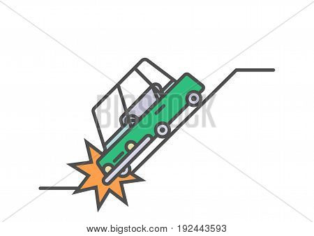 Flat line car insurance simple illustration on white background. Vector icon of automobile falling into abyss and crashing.