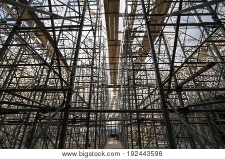 Scaffolding on a construction site of a new church
