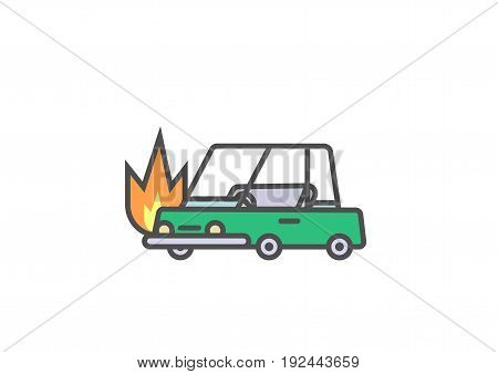 Flat line car insurance simple illustration of burning vehicle on white background. Vector icon of automobile on fire.