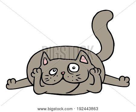 Cute grey cat lying on the floor. Vector illustration. Funny cartoon pet character.
