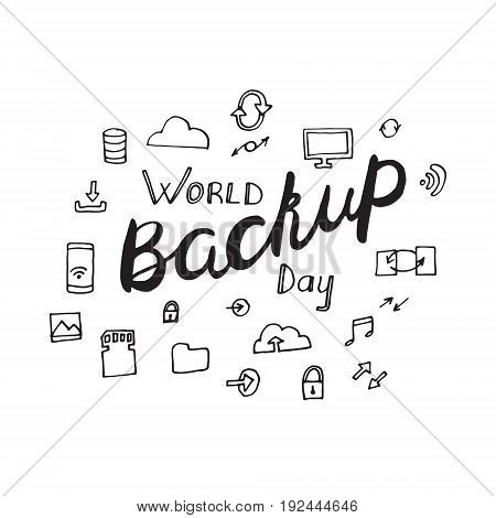 World backup day poster in hand drawn style. Vector illustration