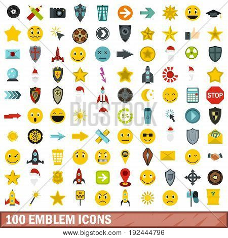 100 emblem icons set in flat style for any design vector illustration
