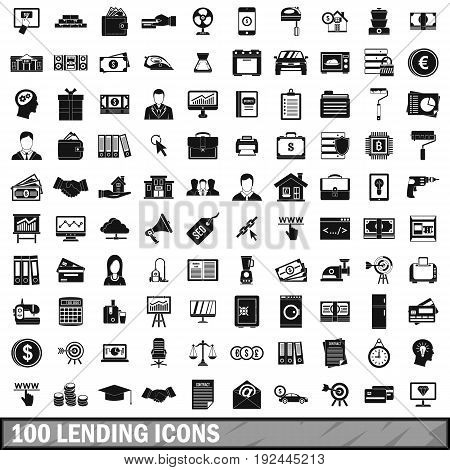 100 lending icons set in simple style for any design vector illustration