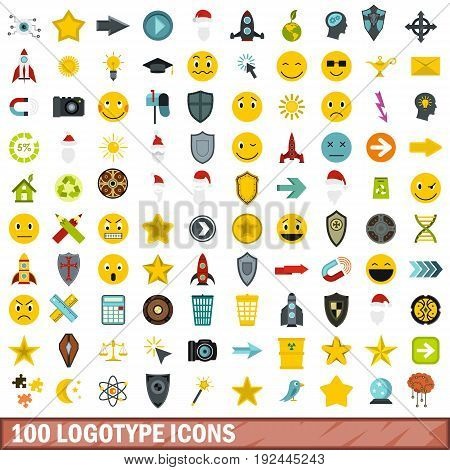100 logotype icons set in flat style for any design vector illustration