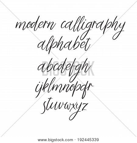 Decorative Hand Drawn Alphabet Handwritten Vector Brush Font Modern Calligraphy ABC Wedding Greeting Card Logo Phrases Invitation Slogan