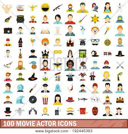 100 movie actor icons set in flat style for any design vector illustration